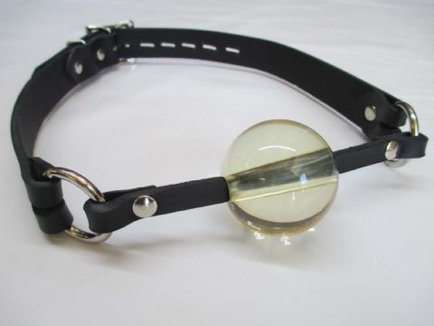 Leather Lockable Clear Ball gag